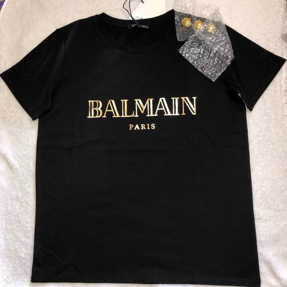 9d137e496 Balmain Tops | Buttoned Logo Tshirt | Poshmark